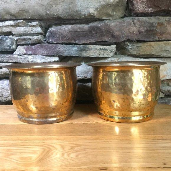 Vintage Brass Planter Pot Hammered Lot 2 India